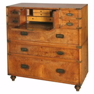 Walnut Secretaire Campaign Chest