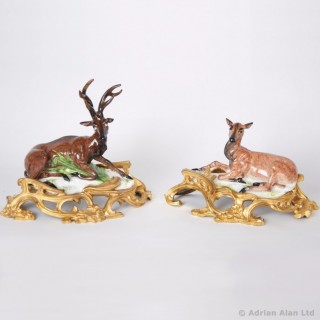 Pair of Porcelain Figures of a Stag and Doe