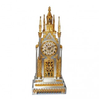 Silvered and Ormolu Bronze Cathedral Clock