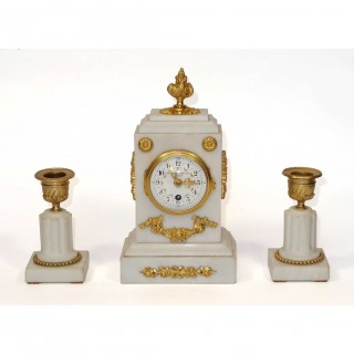 Miniature White Marble Clock Garniture set