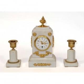 Miniature White Marble Clock Garniture set