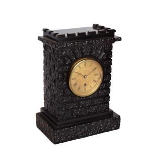 English Black Marble Fusee Timepiece Mantel Clock