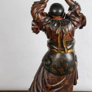 Japanese carved wood figure/ torcha
