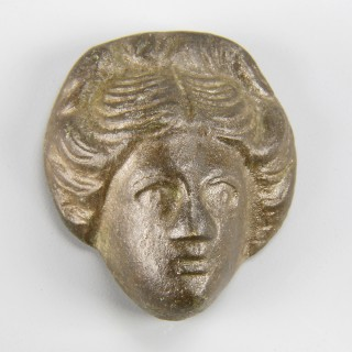 Roman bronze female head applique