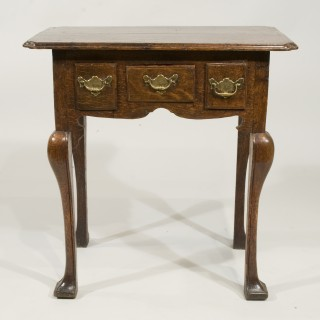 A Queen Anne Period Oak Three Drawer Lowboy