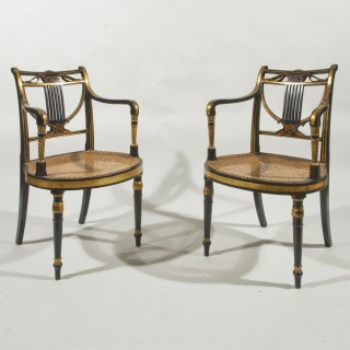 A Pair of English Regency Giltwood and Painted Elbow Chairs