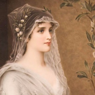 KPM Plaque of A Young Woman in a White Dress