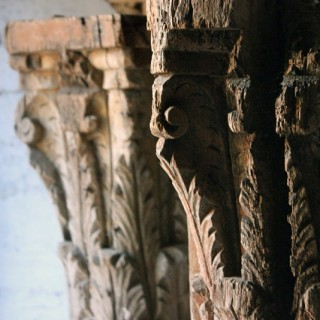A Large Pair of 18thC Carved Oak Architectural Columns