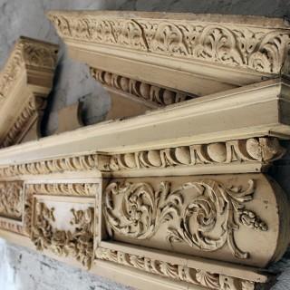 A Fine Regency Carved Pine & Gesso Overdoor Broken Pediment c.1825; Formerly of No.2 Wilton Crescent, Belgravia & the Earl Mountbatten, by Repute