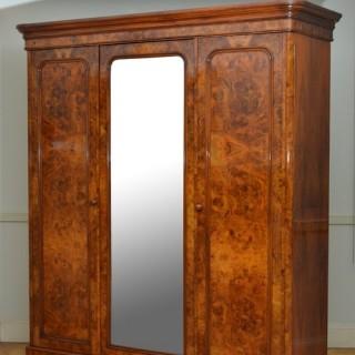 Fine Victorian Burr Walnut Wardrobe