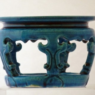 Kangxi Turquoise Ground Bowl or Vase Stand