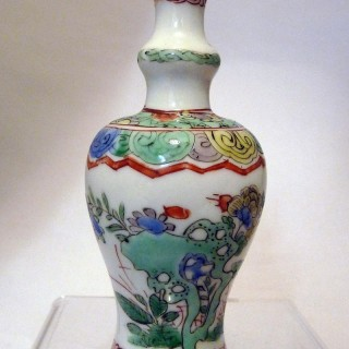 Kangxi Famille Verte Shaped Bottle Vase