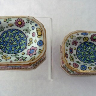 Qianlong Famille Rose Clobbered Pair of Trencher Salts