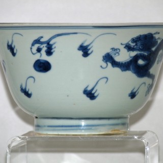 Transitional Chinese 17th Century Porcelain Dragon Bowl