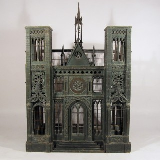 A Mid 19th Century Painted Birdcage In The Form Of Notre Dame