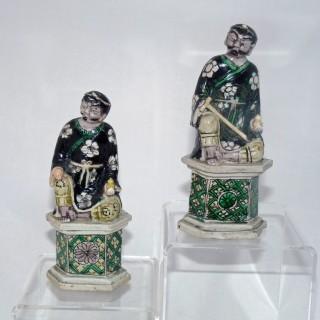 kangxi famille Verte Biscuit Porcelain Pair of Figures
