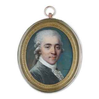 Portrait miniature of a Gentleman, wearing dark grey velvet coat and white frilled shirt, powdered wig