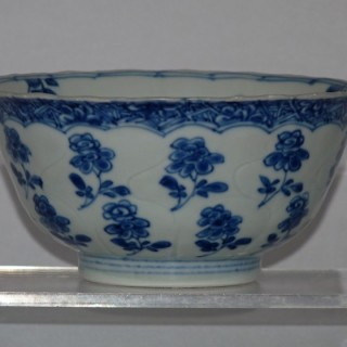 Kangxi Blue  and White Moulded Porcelain Bowl