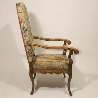 Early 18th Century Louis XV Walnut Upholstered Armchair