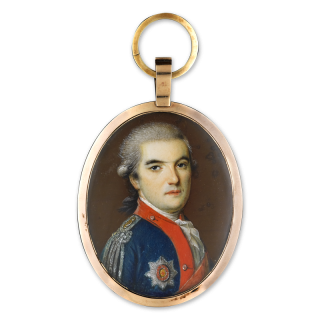 Portrait miniature of an Officer, probably Stepan Stephanovich Apraksin, Степан Степанович Апраксин (1757-1827), wearing a Light Cavalry uniform, epaulets of figel, adjutant of Catherine the Great and Order of Saint Anne first class