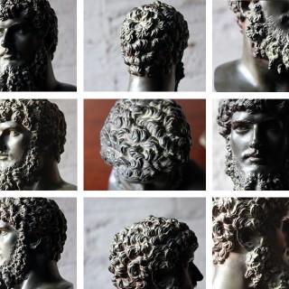 A Good Late 19thC Bronze Portrait Bust of Lucius Verus