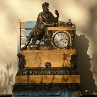 French Nineteenth Century Antique Siena Marble And Bronze Mounted Clock