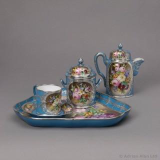 Silver Mounted Sèvres Style Porcelain Cabaret Set