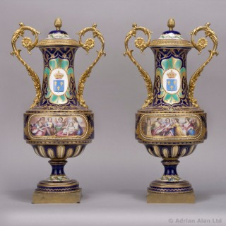 Pair of Sèvres Style Porcelain Vases & Covers