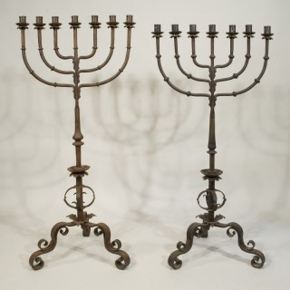 A Near Pair of Late 19th Century Gothic Revival Wrought Iron Candelabra