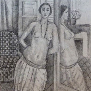 Odalisque with Striped Trousers, Reflected in the Mirror / Odalisque a la Culotte Rayée, reflétée dans la glace, 1923