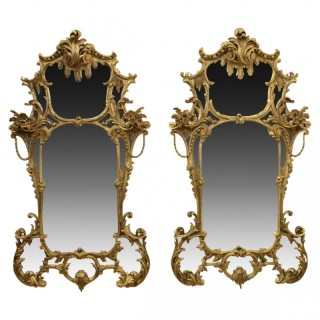Pair of Rococo Style Gilt Mirrors