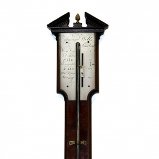 Mahogany Stick barometer by Edmund Wells, London