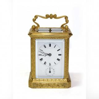 Engraved Strike Repeat Alarm Carriage Clock