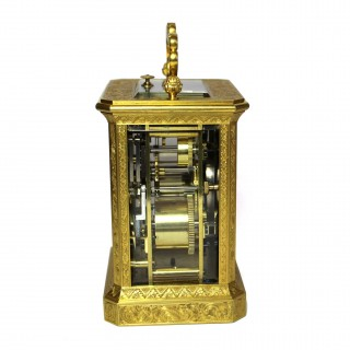 Engraved Strike Repeat Alarm Carriage Clock