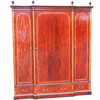 Antique Mahogany Breakfront Wardrobe