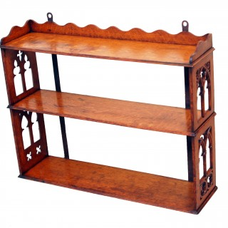 Antique Gothic Oak Wall Hanging Shelves
