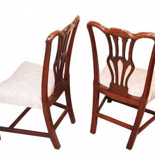 Antique Georgian Mahogany Pair Of Side Chairs