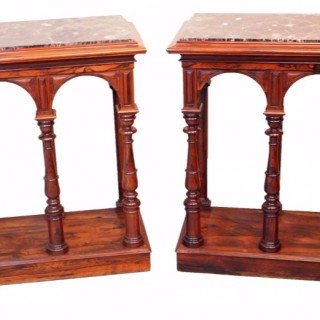 Antique Regency Rosewood Pair Of Console Tables