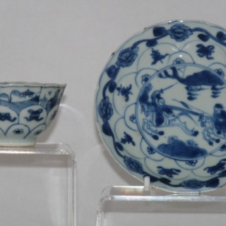 Kangxi blue and White moulded Tea Bowl and saucer