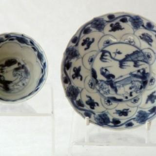 Kangxi moulded tea bowl and asucer