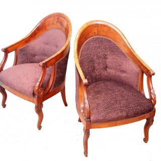 Antique Continental Pair Of Walnut Tub Library Chairs