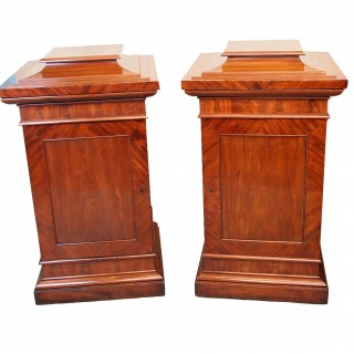 Antique Regency Mahogany Pair Of Dining Room Pedestal Cupboards