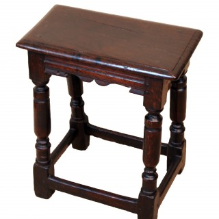 Antique 17th Century Oak Joint Stool