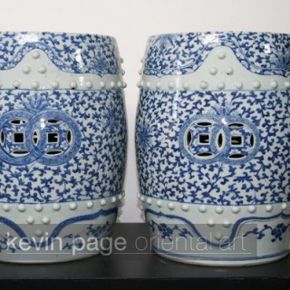 a pair of fine chinese blue and white garden seats