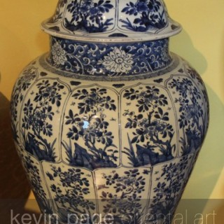 a chinese kang hsi blue and white temple jar and cover with lion dog knop