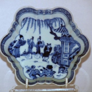Yongzheng Blue and White Shaped Tea Pot Stand
