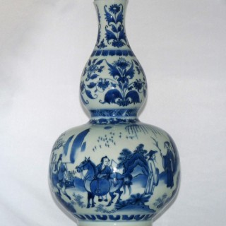 Transitional Blue and White  Chinese Double Gourd Vase