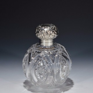SILVER AND GLASS SCENT BOTTLE
