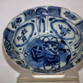 Ming Blue and White Porcelain Kraak Klapmuts Bowl
