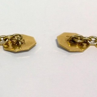 Platinum, gold and sapphire cufflinks